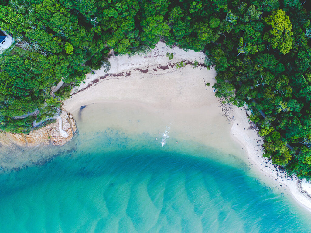 Overhead view of a stunning blue ocean, beach and trees